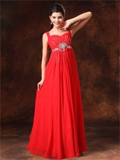 Beaded Straps Prom Dress With Empire Red Chiffon Skirt Cheap Price