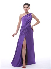 Medium Purple One Shoulder High Slit Ruch Sexy Dancing Dress Unique Design