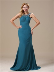 Affordable Scoop Neckline Teal Prom Dress Chiffon Skirt Open Back Sexy