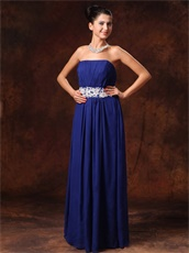 Appliques Decorate Belt Royal Blue Strapless New Arrival Prom Gowns