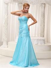 Beautiful A-line Aqua Blue Long Prom Dress For Friend's Weeding Wear
