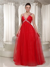 Amazing X-shape Beading Straps Red Prom Dress With Deep V Neck