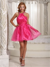 Beading Halter Strap Shiny Organza Hot Pink Cocktail Wear