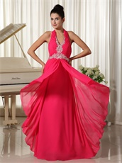 Coral Chiffon Halter Zipper-up Long Prom Gown Factory Direct Shipping