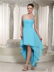 Short Front Long Back Hi-lo Skirt Aqua Chiffon Prom Dress B2C Model