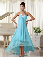 Lovely Natural Waist Aqua Chiffon V-Shaped High-low Layers Skirt