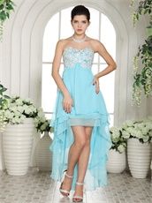 Sweetheart Short and Long Skirt Aqua Blue Prom Dress High Low