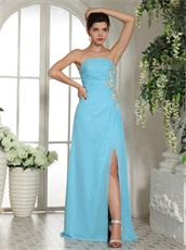 Aqua Blue Prom Dress Slit Skirt Online Store Good Reputation Reviews