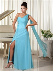 Aqua Blue Evening Dinner Dress Single Strap Streamer Shoulder Watteau Train
