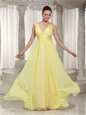Light Yellow Chiffon Stage Dancers Partner Quality Prom Dresses V Neck