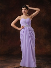 Beading Sweetheart Lilac Chiffon Cache Prom Dress For Women