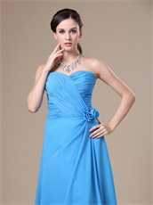 Sample Dress Dodger Blue Sweetheart Neckline Prom Gowns With Flowers Decorate