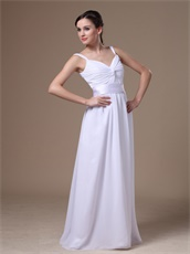 Affordable Straps Crossed Ruching White Chiffon Prom Dress With Belt