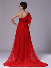 Red Chiffon Single Shoulder Trumpet Ruffle Sleeve Prom Dress For Sale