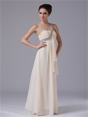 One Shoulder Crystals Strap Champagne Prom Gowns Designer Recommend