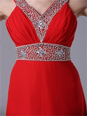 Featured Red V-neck Prom Dress Floor-length By Chiffon Fabric