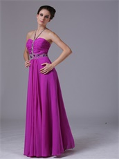 Spaghetti Halter Strap Purple Chiffon Prom Night Dress With Crystals