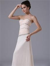 Peach Champagne Chiffon Custom Fit Prom Dress Ceremonial Usherette
