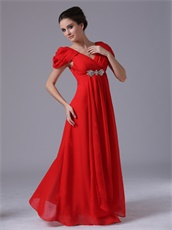 Promotion Floor Length Red Celebrity Gowns Cap Short Sleeves