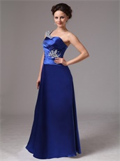 Beaded One Shoulder Pretty Evening Dress In Dark Royal Blue