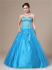 Beaded Bodice Flat Multilayers Tulle Bulging Skirt Dodger Blue Quince Dress