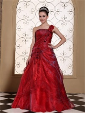 Luxury One Shoulder A-line Ballroom Dance Gown With Hand Made Flowers