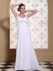 Terse V-neck Beaded Chest Chiffon Column Mother Of The Bride Dress Promotion