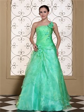 Memorable One Shoulder A-line Flowers Decorate Apple Green Pageant Gown