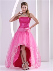 Sequins Bodice High Low Design Sparkle Hot Pink Tulle Prom Dress B2C Mode