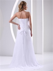 Decent Sheath Appliques Corset Back Pure White Evening Dress Direct Shipping