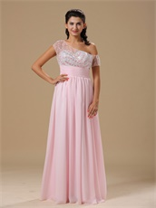 Asymmetrical Straps Midsection Translucent Sequin Inside Skirt Baby Pink Prom Dress
