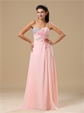Sweetheart Silver Beading Little Flowers Decorate Pink Long Formal Evening Dress