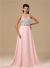 Rolled Beaded Upper Part Empire Waist Baby Pink Prom Gowns Essentials