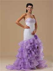 Particular Purple Ruffles Layers High Low Skirt White Mermaid Cocktail Dress