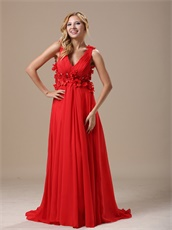 Glamorous Deep V-Neck Hand Made Flowers With Beading Decorate Red Prom Dress