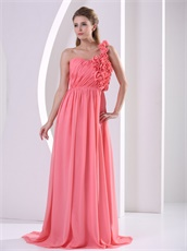Practical One Shouler Handwork Flowers Watermelon Girlish Vacation Prom Dress Website