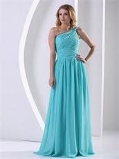 Left Single Strap Floor Length Aque Blue Formal Evening Dress High Quality