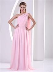 Stars Same Style One Shoulder Baby Pink Chiffon Prom Dress Watteau Train