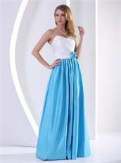 Leisure White and Dodger Blue Floor Length Prom Party Dresses Online