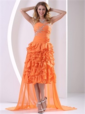 Thick Ruffles Skirt Orange Celebrity Prom Dresses With Detachable Train