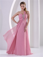 One Shoulder Floor-length Pearl Pink Femme Evening Dress Hot Selling
