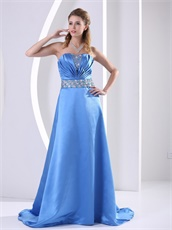 Plicated Neckline Without Straps Sweep Train Skirt Sky Blue Dance Dress
