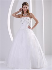 Simple Strapless Appliques Princess Wedding Anniversary Dress Low Price