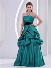Strapless Bubble Long Tuequoise Formal Evening Dress With Black Sash