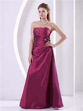 Slender Floor Length Purple Taffeta Wine Party Dress Best Seller