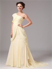 One Shoulder Slim Daffodil Chiffon Mother Of The Bride Dress Store Near Me