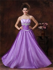 Beaded Strapless Basque Waist Purple Prom Dress With White UnderSkirt