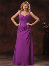 Custom Fit Straps Ruched Bodice Discount Long Prom Dress Purple