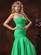 Green Mermaid Sweetheart Style Ruched Prom Dress Inexpensive Hot Sell