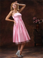 Spaghetti Straps Baby Pink Prom Dress With Bowknot Tea-length Discount